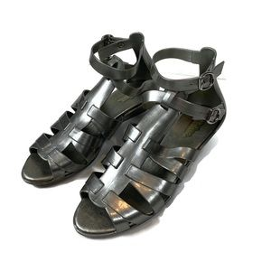 Melissa Silver Gray Wedge Strap Jelly Sandals